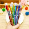 Papeterie 6 couleurs dans 1 stylo bille multicolore, crayon lecteur de bureau d'école de crayon lecteur de bille