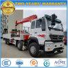Sinotruk 8X4 Hochleistungs-LKW hing mit 14 Tonnen Kran-flachen Transport-LKW ladend ein