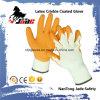 Crinkle латекса ладони хлопка 10g перчатка померанцового Coated промышленная