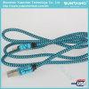 Cable rápido del cargador del USB del nilón del cable trenzado azul del relámpago