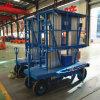 Vector de elevación hidráulico móvil de la aleación de aluminio del mástil doble