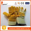 黄色い牛そぎ皮パッチのやし作業手袋Dlc202