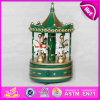 2015 деревянное Christmas Wind вверх по Carousel Horse Music Box, Весел-Идут-Round Wooden Toy Carousel Music Box для Birthday Gift W07b010A