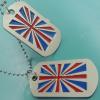 Le drapeau BRITANNIQUE plaqué par or d'étiquette de chien d'étiquette de chien d'alliage en métal gravent l'étiquette de chien avec la chaîne de boule