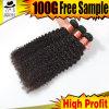 Уток человеческих волос бразильского курчавого Weave