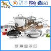 Bacs réglés d'acier inoxydable de batterie de cuisine de 8 parties et couvercles en verre de carters (CX-SS1801)