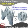 13G серого Anti-Static хлопок/Нейлон вязаные рукавицы с белыми PU гладкого покрытия на кончик пальца/ en1149