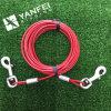 Il legame del cane fuori lega il cavo con un cavo di collegare ricoperto PVC