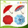De Marineblauwe Buiten Blauwe en Witte Wolken die van uitstekende kwaliteit Binnen Rechte Paraplu afdrukken