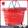 Panier à provisions en plastique de roues de roulement pour le système de supermarché