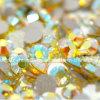 Todos los tamaños no Hotfix Rhinestones Nail Art 3D Citrine Ab Glitter posterior plana piedra suelta (FB-SS16 citrine ab)