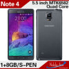 5.5inch Quad Core Note 4 Mobile Phone
