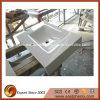 Parti superiori di pietra di vetro cristallizzate bianche scintillanti artificiali di vanità della stanza da bagno