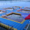 Estructura flotante de la granja de pescados por el muelle el pontón de HDPE