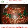 Les joyeuses lumières décoratives de la décoration DEL de mur de guichet de signe de Noël