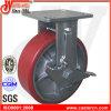 rueda rígida del echador de la PU del rojo resistente 6  X2  con el freno