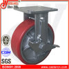 6x2 rojo Heavy Duty rígida de poliuretano ruedas giratorias con freno