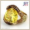 El cristal al por mayor del Zircon del Topaz del chapado en oro de la aleación empiedra el anillo de la joyería de la manera