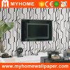 Vinil preto e branco em relevo o papel de parede (80401)
