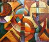 Het met de hand gemaakte Moderne Schilderen van de Kunst van het Decor van de Muur Eenvoudige Abstracte (links-317000)