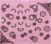 Etiqueta preta elegante do prego das etiquetas da arte do prego das flores 3D