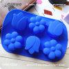 青い花の整形食品等級のシリコーンゴムのカップケーキ鍋