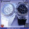 Da forma luxuosa quente a mais nova da alta qualidade da venda de Yxl-696 relógio de pulso leve de cristal do silicone Deisgn