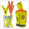 Chaleco de la seguridad del desgaste del trabajo del amarillo del Hola-Vis con la chaqueta del capo motor