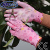 Перчатка работы женщин PU картины цветка Nmsafety розовая покрытая
