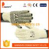 Knit 2017 de la cadena del poliester del algodón de Ddsafety. El PVC negro puntea la cara del guante uno con insignia