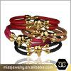 Mcllroy Form-Luxuxpythonschlange-Haut-Mann-Titanstahlschädel-Leder-Armband