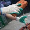 Перчатки безопасности дешевого зеленого латекса Nmsafet покрытые