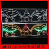 Attraverso gli ornamenti di ceramica di natale di motivo attraverso l'indicatore luminoso di via