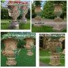 手で石造りの庭Flowerpot Granite Marble Vase Carved (YKFP-26)