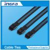 Überzogener Kugel-Verschluss-Edelstahl-Plastikkabelbinder (Strichleiterwiderhakenverschluß)
