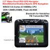 IP65 Waterproof moto Bike Car GPS Navigation avec Bluetooth Handsfree, Transmetteur FM, 3,5 écran TFT pour sports de plein air Action Navigateur GPS