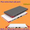 Relâmpago interno & micro banco portátil Ultrathin da potência do cabo 10000mAh da carga do USB