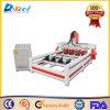 4 Jefes máquina CNC giratorio plano para la venta de materiales del cilindro de madera