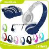 Auscultadores perfeito personalizado colorido azul da música do efeito sadio do logotipo