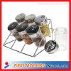 Venta al por mayor mini tarro de especias de vidrio conjunto con rack de metal
