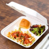 9 Inches 3 Compartments Sugarcane Pulp Buffet Box, Disposable Food Container