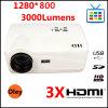 LED-Projektor 1280 *768 mit 3000 Lumen Iput 3*HDMI, USB/SD, Fernsehapparat Turner