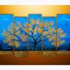 Pittura a olio moderna blu della tela di canapa di paesaggio (KLLA5-0061)