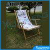 Chaise de plage en bois et toile pliante vintage