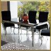 Mobília moderna da sala de jantar/mobília Home contemporânea do metal para a sala de jantar/tabela de jantar de vidro de Louis do aço inoxidável ajustadas com as cadeiras da tela de veludo