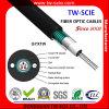 Envoltura externa de la fibra del cable óptico del tubo GYXTW 2-12-24 del PE central aéreo al aire libre de las memorias