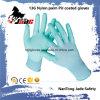 Горячая перчатка работы ладони сбываний 13G Nylon покрынная PU