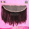 Frontal Curly Kinky do fechamento do laço do cabelo 13X4 do Virgin do Afro Mongolian