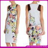 Белое Printed Woman Dress с Sleeveless Party Dress Evening Dress