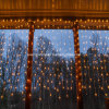 온난한 백색 4m 100개의 LED 커튼 빛 크리스마스 결혼식 휴일 정원 훈장